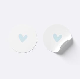 Sluitsticker hartje | Wit met licht blauw