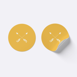 Sluitsticker pijlen | Okergeel met wit