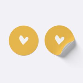 Sluitsticker hartje | Okergeel met wit