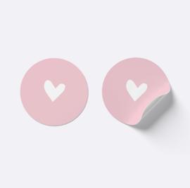 Sluitsticker hartje | roze met wit