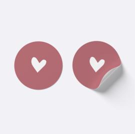 Sluitsticker hartje | oudroze met wit