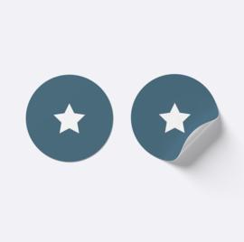 Sluitsticker ster | Donker blauw met wit