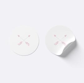 Sluitsticker pijlen | Wit met roze