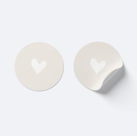 Sluitsticker hartje | beige met wit
