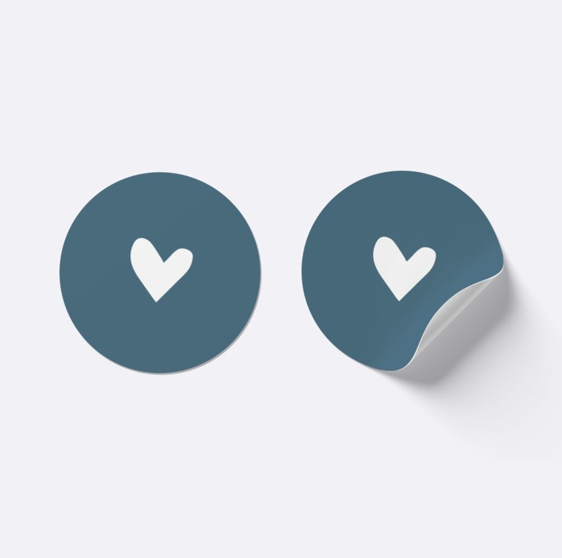 Sluitsticker hartje | Donker blauw met wit