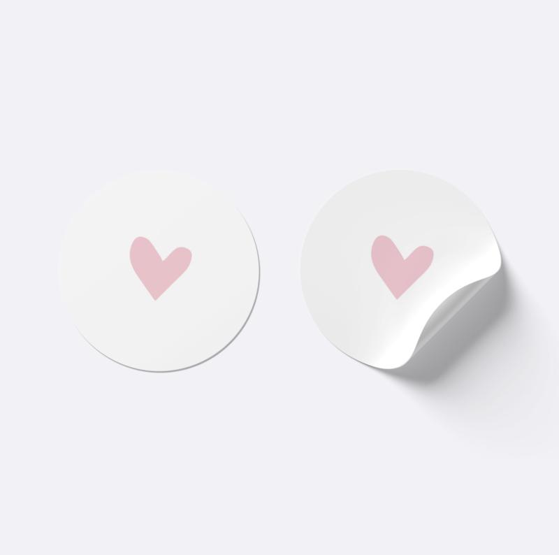 Sluitsticker hartje | Wit met licht roze