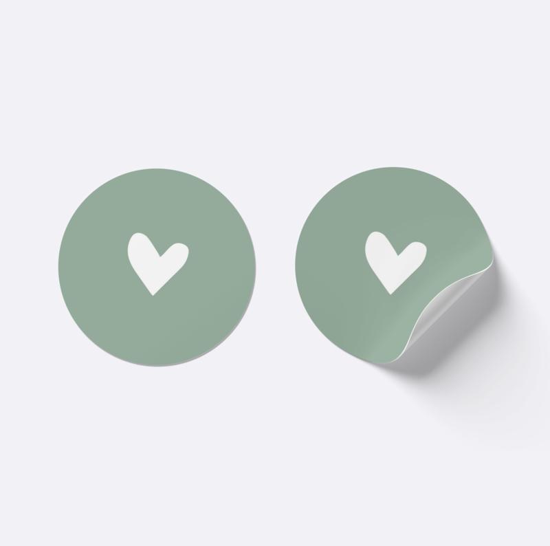 Sluitsticker hartje | Antiek groen met wit