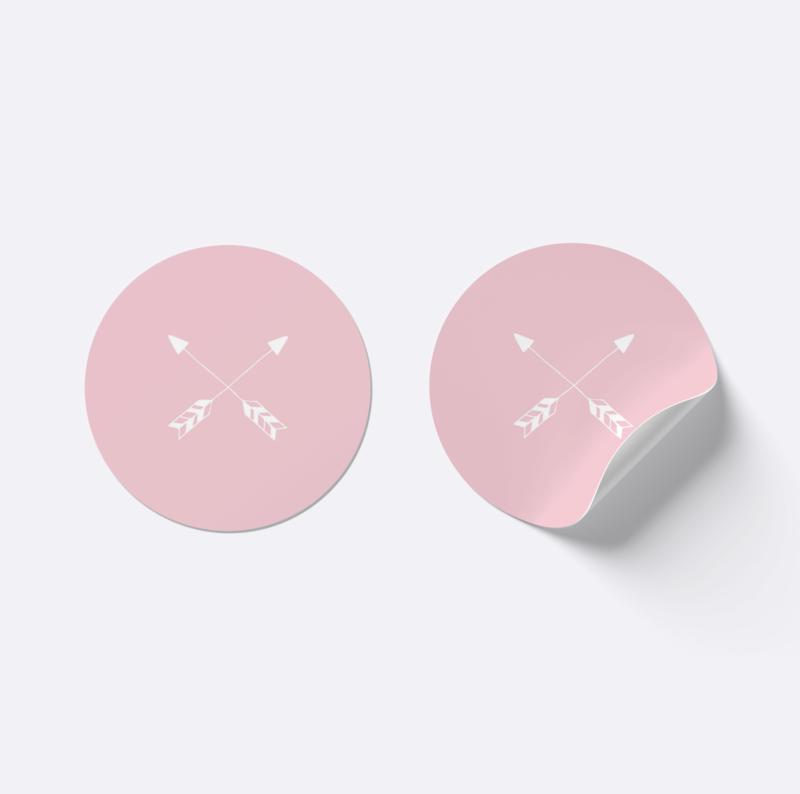 Sluitsticker pijlen | Roze met wit