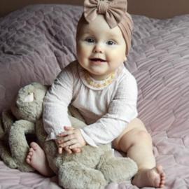 Barnsteen ketting; honinggeel & rozenkwarts (baby/peuter)