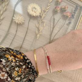 Geboortesteen armbandje Juli - Robijn
