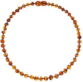 Barnsteen ketting; amber bruin (baby/peuter)