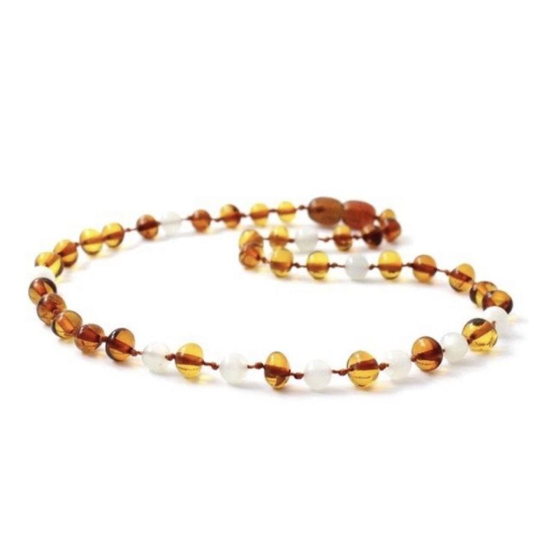 Barnsteen ketting; amber-maansteen (baby/peuter)