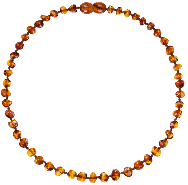 Barnsteen ketting; amber bruin (kind)