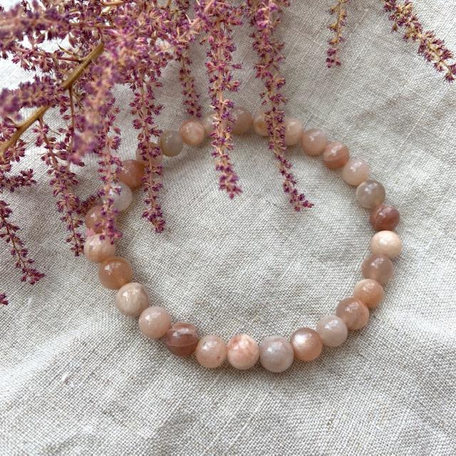 Maansteen armband, roze