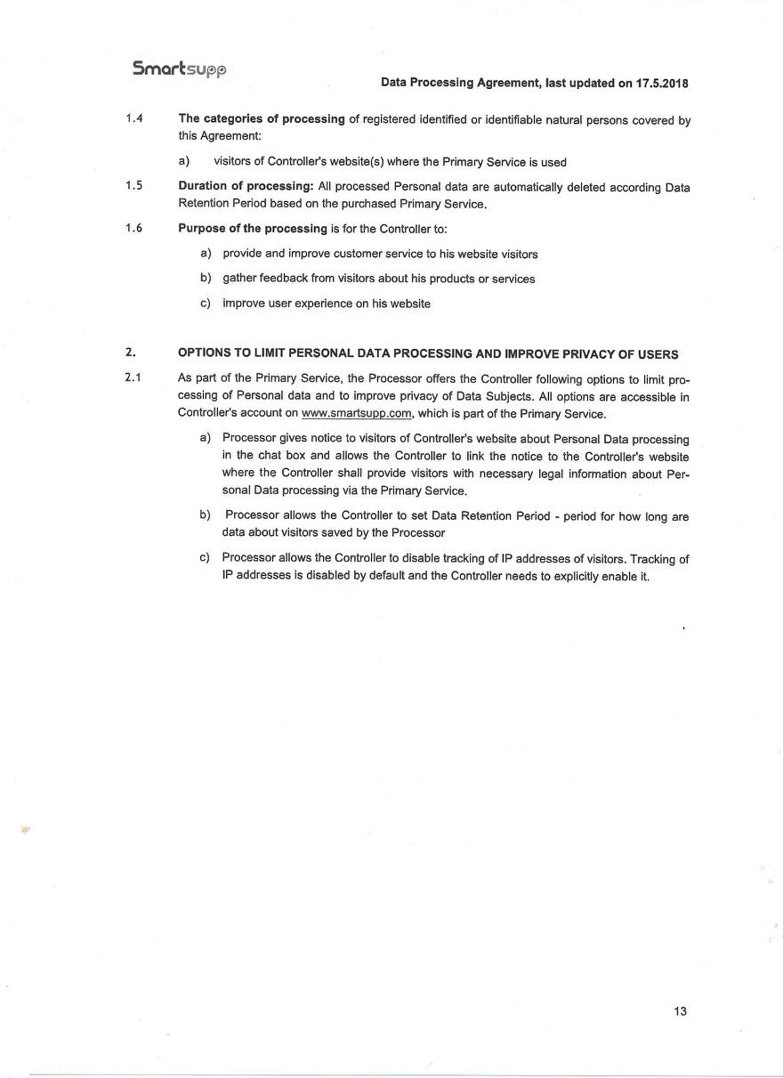 Verwerkinsovereenkosmst van Smartsupp_13