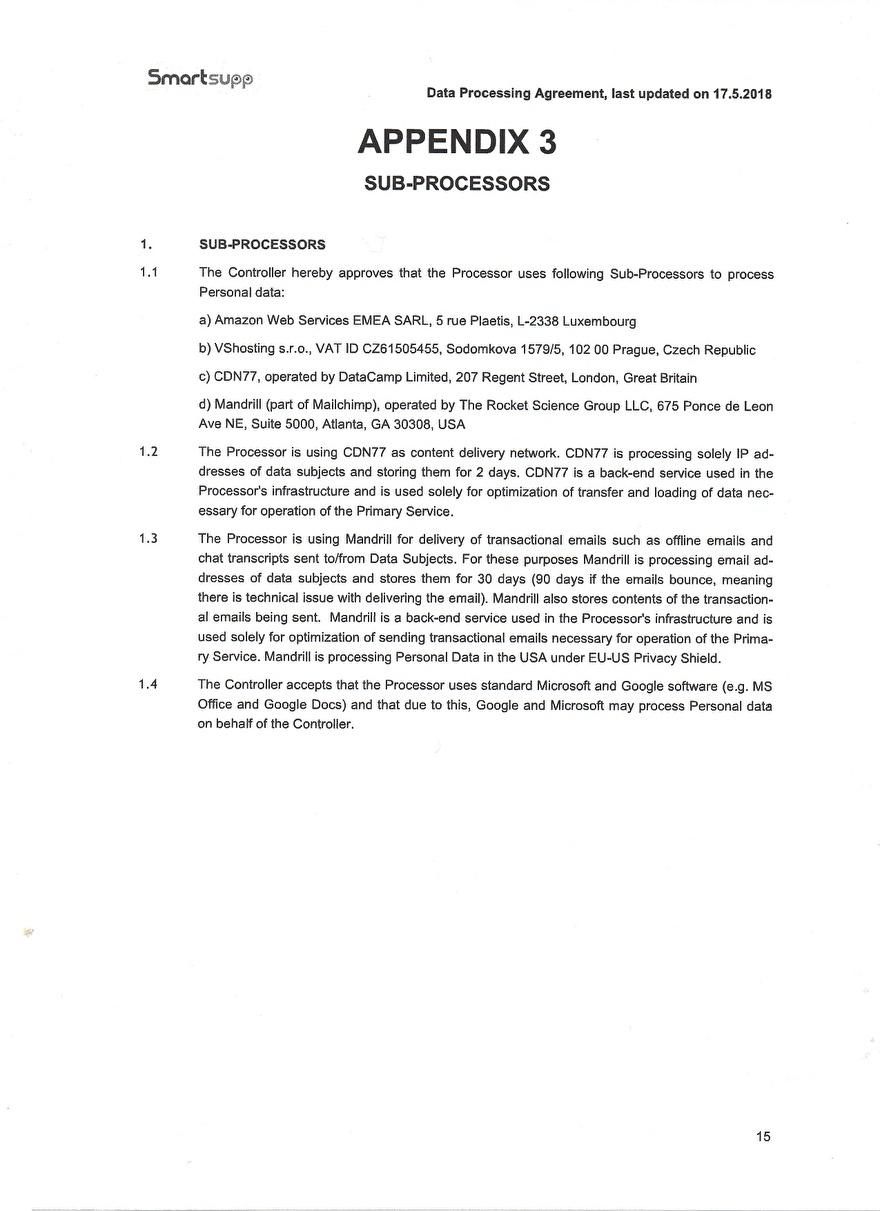 Verwerkinsovereenkosmst van Smartsupp_15
