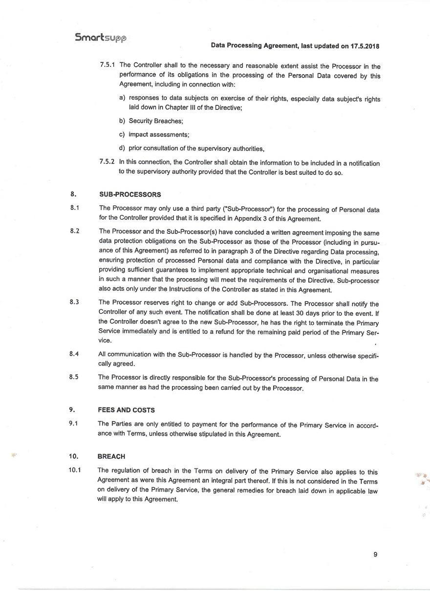Verwerkinsovereenkosmst van Smartsupp_9