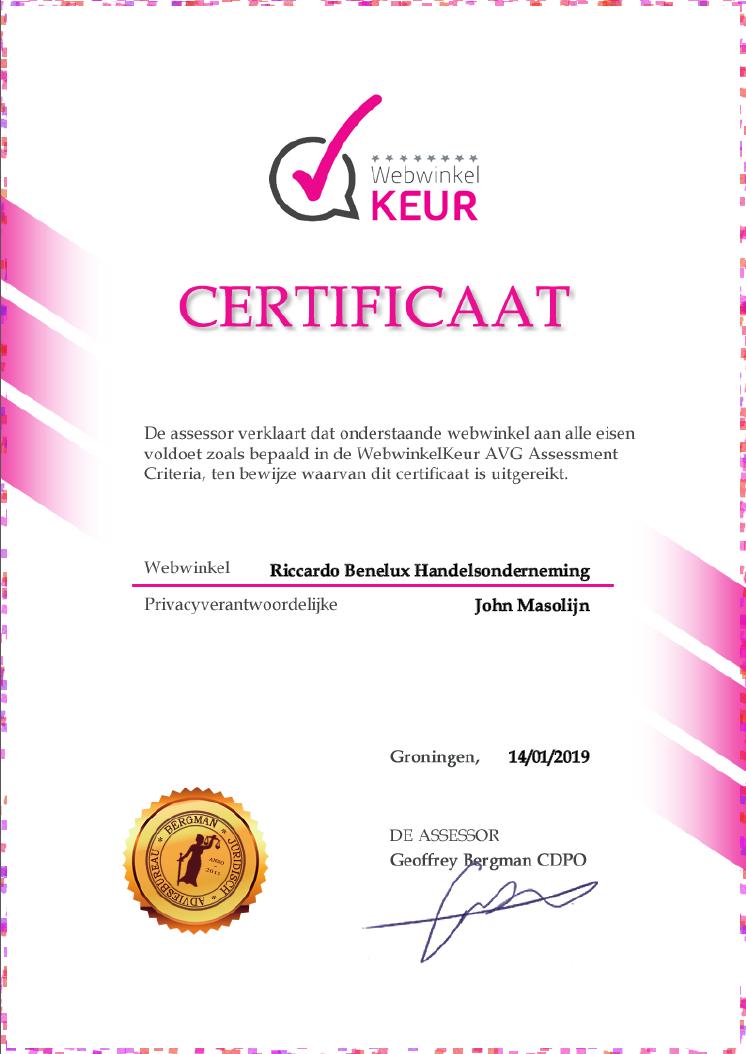 AVG Certificaat Webwinkel Keur