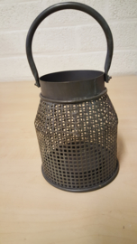 theelicht bruin metaal bewerkt 11,5 cm hoog