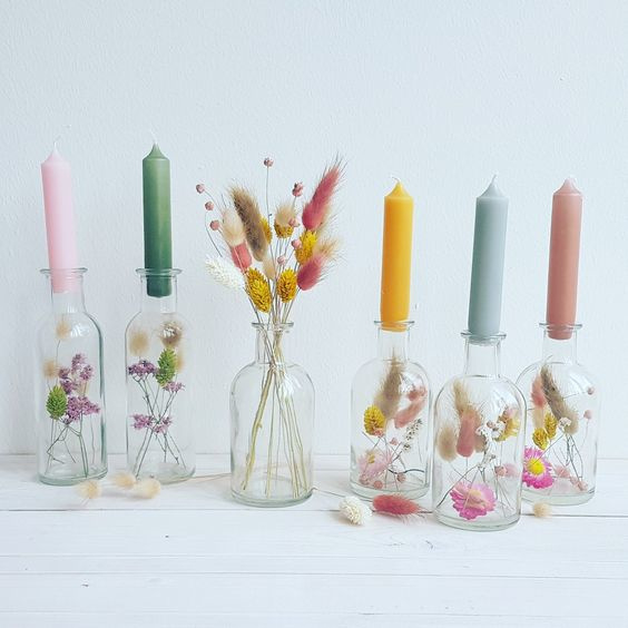 glaasjes met droogbloemen incl. kaarsje  3 stuks