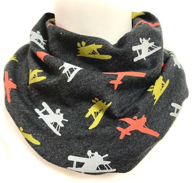Antraciet sjaaltje met vliegtuigen