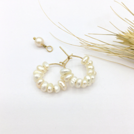 Earring hoops with tiny pearls
