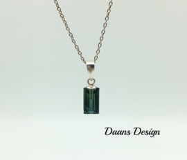 Necklace sterling silver tourmaline blue and green
