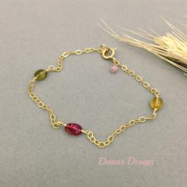 Toermalijn armband - Roze, groen en geel