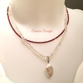 Zilveren ketting, Maansteen ketting, Edelstenen ketting met parel hanger 925 zilver