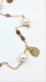 Gouden ketting, Toermalijn, Parelketting,  Lange ketting, Edelstenen ketting, Handgemaakte sieraden