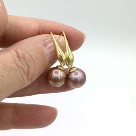 Parel oorbellen - Edison parel oorbellen brons