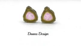 Minimalistische oorbellen, Maxima oorbellen,  Gouden oorbellen, Edelstenen oorbellen toermalijn edelstenen