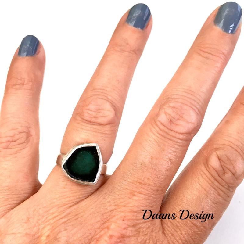 Zilveren ring dames, Zilveren ring met edelsteen, Handgemaakt
