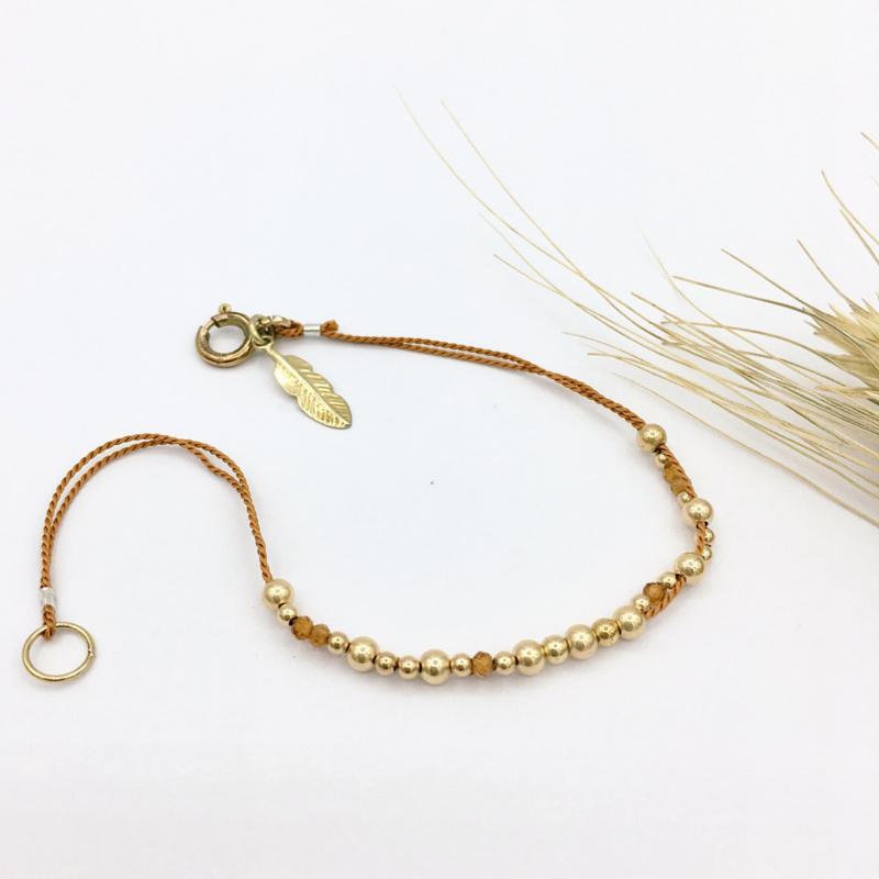 Armband - Gouden armbandje Elegante warm bruin