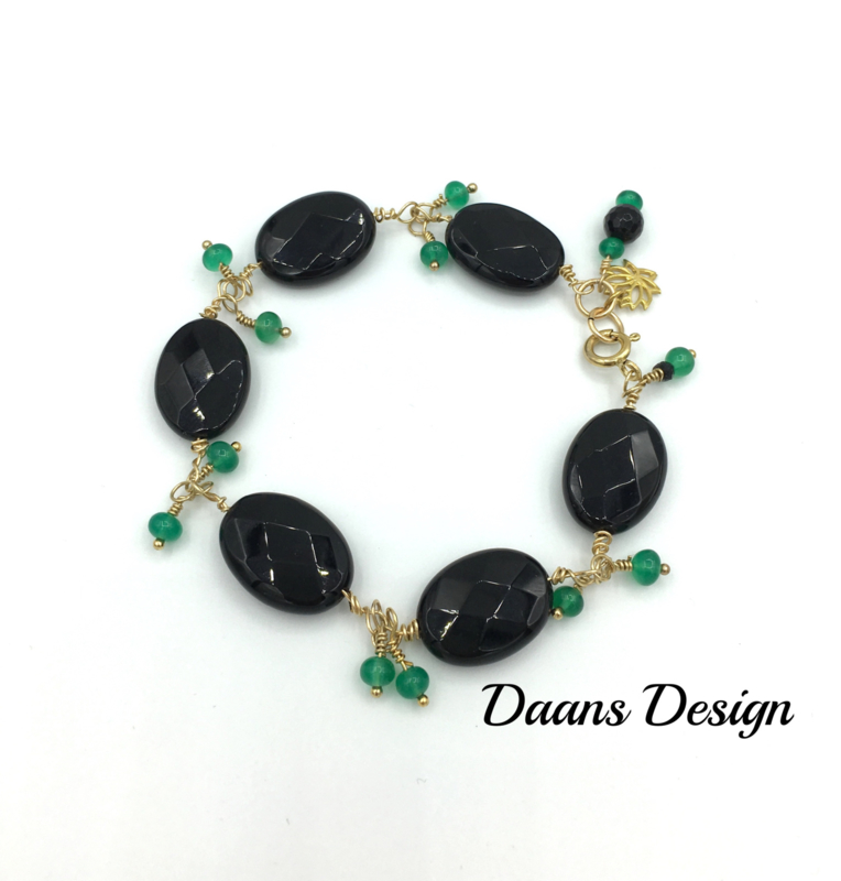 Armband edelstenen goud zwarte en groene onyx