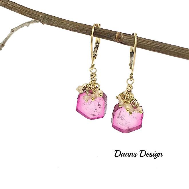 Daans Design toermalijn oorbellen gemstone earrings pink tourmaline earrings gold earrings edelstenen oorbellen