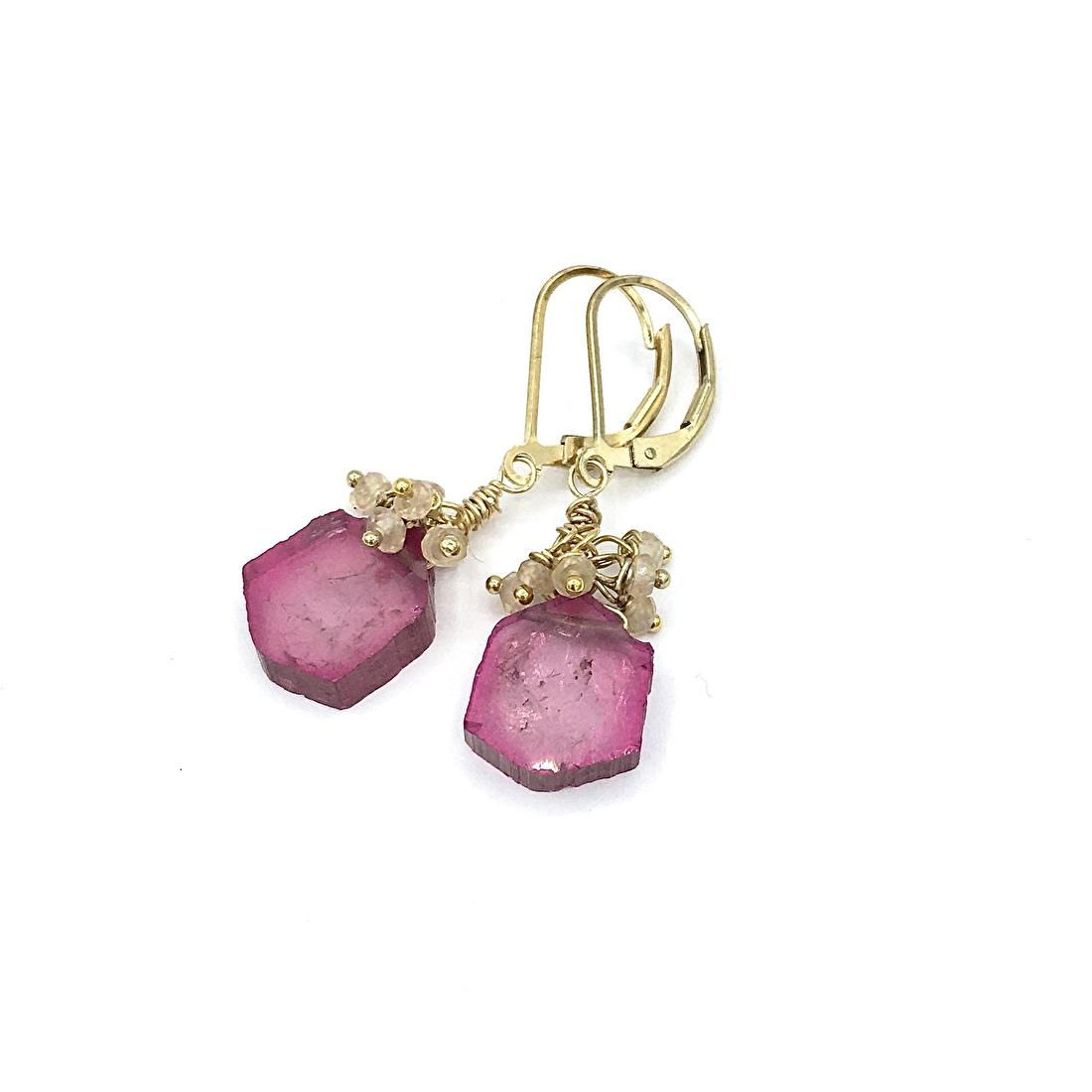 Handmade jewellery,Long earrings,Handmade earrings,Gemstone earrings,watermelon tourmaline earrings,dangle gemstone earrings,Tourmaline,watermelon tourmaline jewellery,tourmaline earrings,Pink tourmaline earrings yellow gold,Handmade gemstone earrings,Tourmaline slice earrings,pink earrings,dangle earrings,chandelier earrings