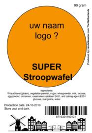 Uw eigen naam/logo SUPER Stroopwafel - 50 stuks