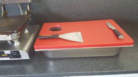 Snijstation voor stroopwafels - witte snijplaat