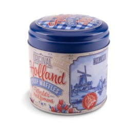 Stroopwafel can Delfts blue with red