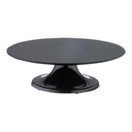 Taartstandaard zwart melamine met draaivoet 32 cm