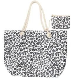 Shopper met luipaardprint Grijs