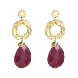 Oorbel Charming Stone Red