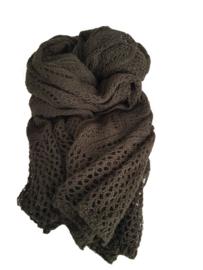Gebreide shawl donker groen