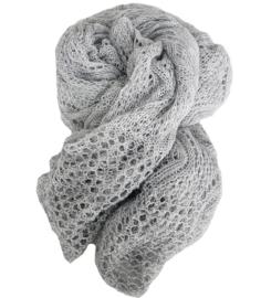 Gebreide shawl licht grijs