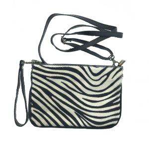 Leren schoudertas Zebra Beige