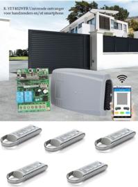 Set met 5 roling code zenders K-YET402WFR Universele ontvanger voor handzenders en/of smartphone.