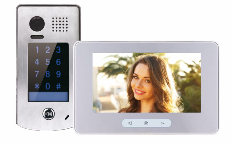 k7 Full HD, 7 inch, RVS videofoon met codeclavier. Topklasse.