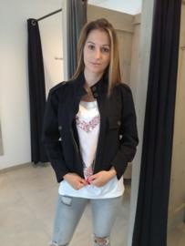 Short zipper jacket BLACK