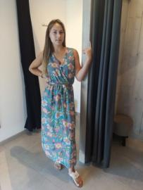 Lange jurk lelie turquoise